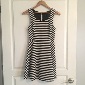 Express Fit & Flare Striped Dress